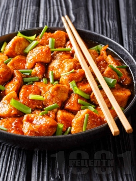 Запържени пилешки хапки със сладък сос с джинджифил - снимка на рецептата
